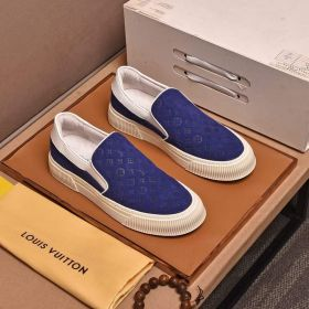 LV Latest Design Blue Suede Leather Monogram Flower Embossing White Rubber Sole Fashion Slip-on Sneakers For Men