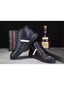 Cheapest Bally Trainspotting Stripe Guy Black Calfskin Leather Lace-up Sneaker Popular Soft Skidproof Outsole Heudauo