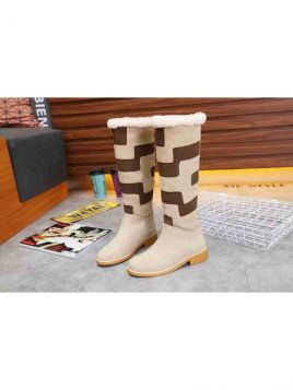 Low Price Hermes Beige & Brown Suede Leather Patchwork Womens High Boots With Faux Fur Cuff Replica